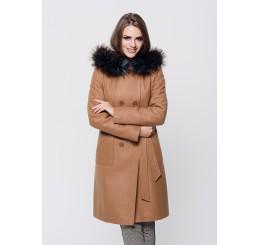 Płaszcz zimowy z kapturem ROZALIA 2 - ciemny camel