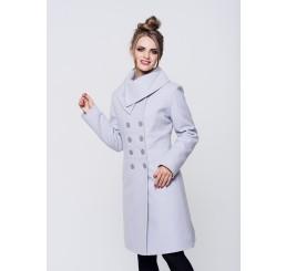 Płaszcz zimowy wełniany SUZANA - jasny popiel
