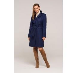 Płaszcz jesienno - zimowy wełniany EDYTA - jeans melange