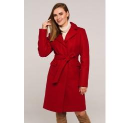 Płaszcz jesienno - zimowy wełniany EDYTA - czerwień