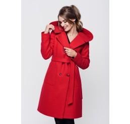 Płaszcz zimowy z kapturem ROZALIA - czerwony
