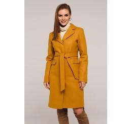 Płaszcz jesienno - zimowy wełniany EDYTA - musztarda