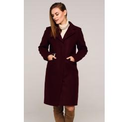 Płaszcz jesienno - zimowy wełniany EDYTA - bordo