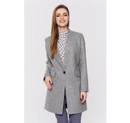 Wiosenny płaszcz wełniany ANITA - popielaty melange