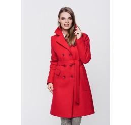 Płaszcz zimowy wełniany LUIZA - czerwony